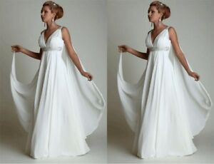 Greek Beach Boho Wedding Dress Maternity Pregnant Bridal Gown High ...
