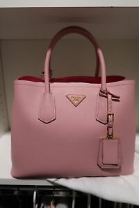 029304560c NWT PRADA Saffiano Cuir Double Small Tote Bag Pesco Pink crossbody ...