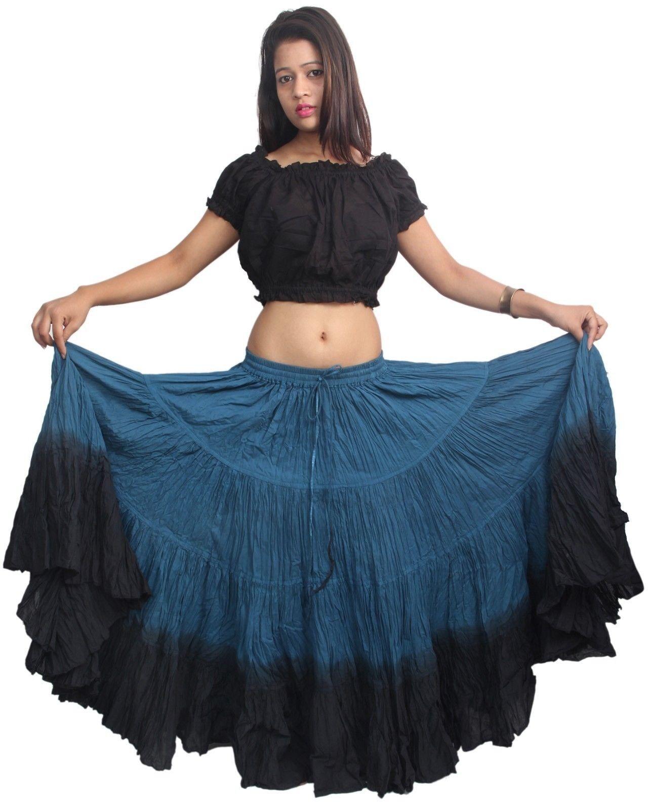 Sariskirt 25 Yard Cotton Gypsy Tribal Dance Skirt Dual color