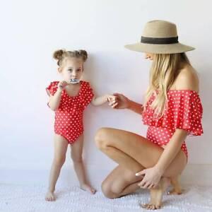 Family-Matching-Swimwear-Mother-Daughter-Women-Kids-Polka-Dot-One-piece-Bikini