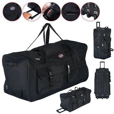 "36"" Rolling Wheeled Tote Duffle Bag Luggage Travel Duffle Suitcase Black New"