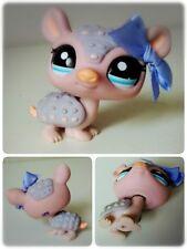 Littlest Pet Shop Tatou gris rose #1379 Grey Purple Pink Armadillo Blue Eyes Bow