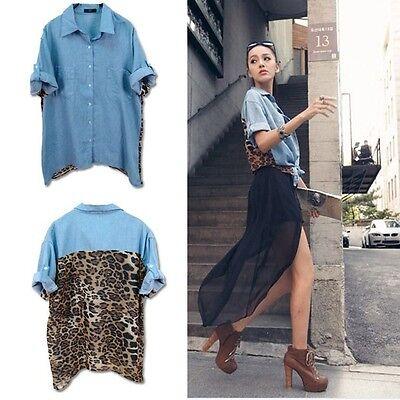 Vintage Fashion Leopard Women Top Button Shirt Blouse Retro Denim Chiffon Tops
