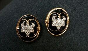 SWAROVSKI-Crystal-Rhinestone-Black-Enamel-Clip-On-Earrings