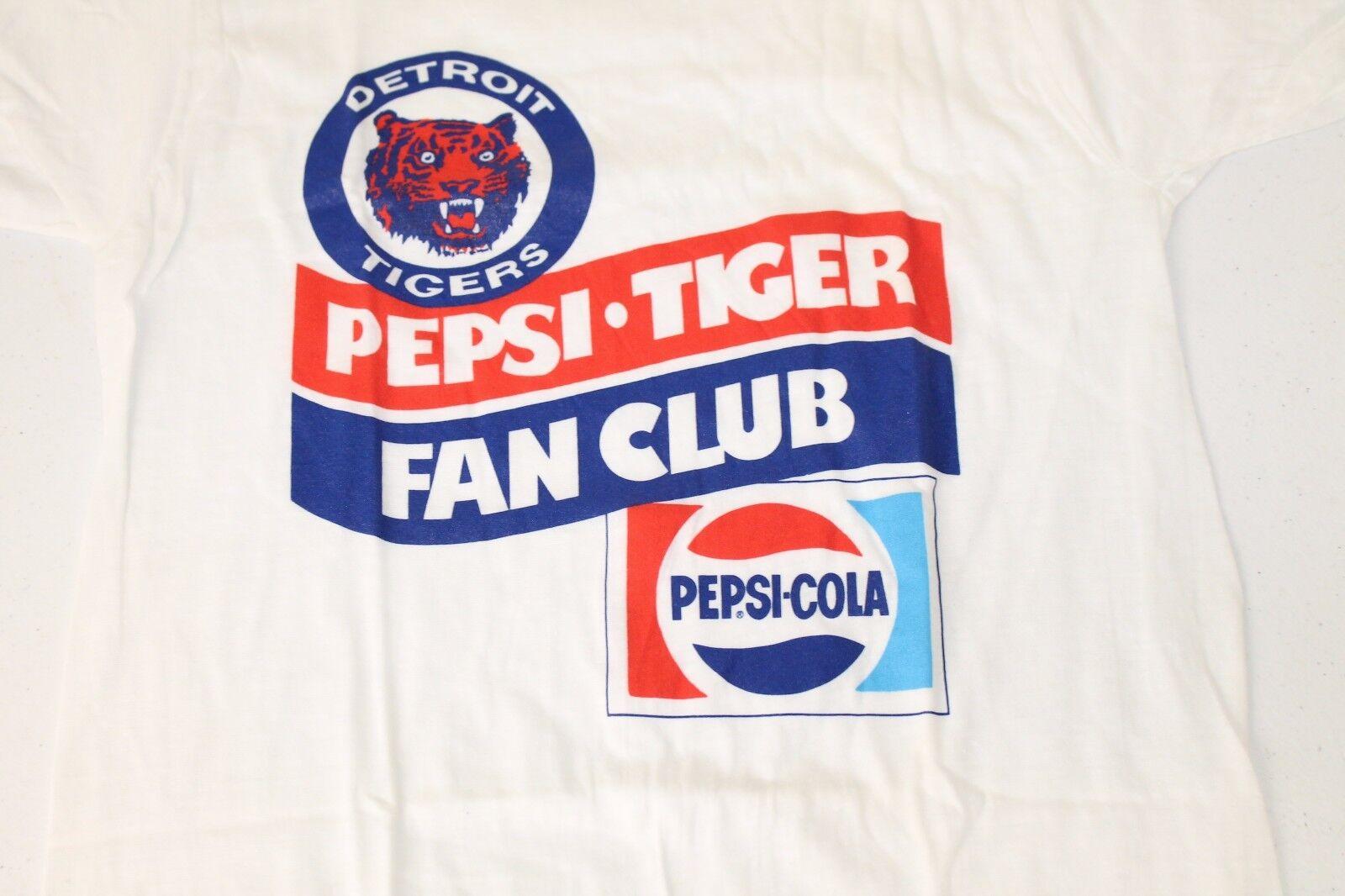 Original Vintage 70's PEPSI COLA Detroit Tigers Fan Club T-SHIRT Sz Small
