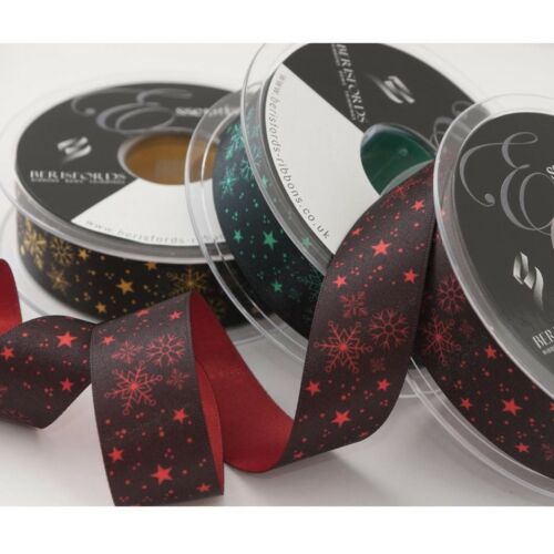 Berisfords Christmas Joy satin double sided ribbon  3 colours 25mm wide