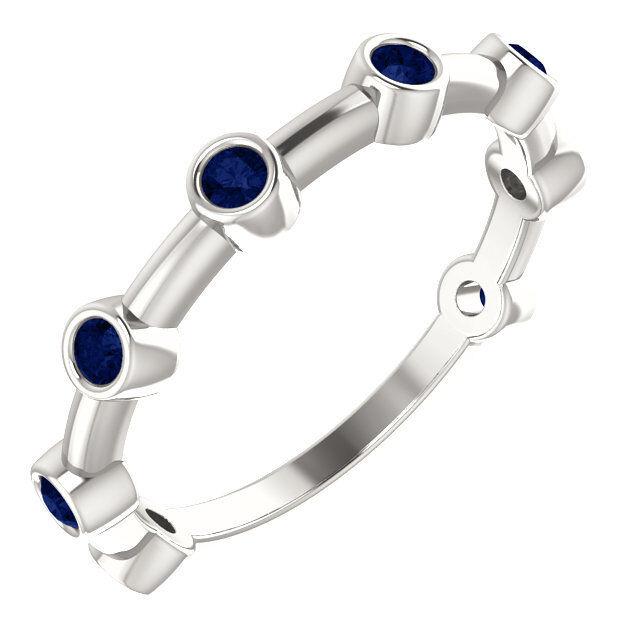bluee Sapphire Bezel Set Bar Ring In 14K White gold