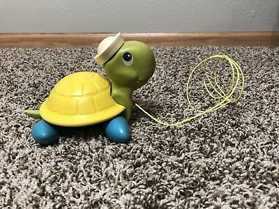 Vintage Fisher-Price Turtle Sailor Pull Toy 1977