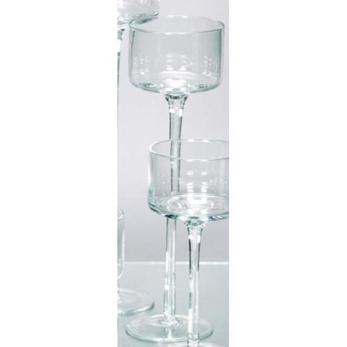 Teelichthalter Kerzenglas auf Fuß COPPA H 30cm Ø 9cm Glas klar Rudolph Keramik