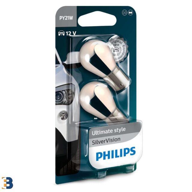 PHILIPS PY21W 12V 21W BAU15s SilverVision 12496SVB2 Indicator Bulb Twin