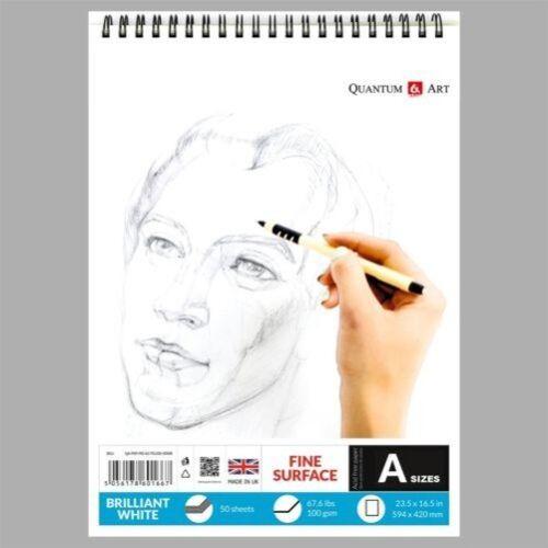 Sketch Pad Glatt Weiß Zeichnung Künstler Papier Auf Spirale Buch 50 Blätter
