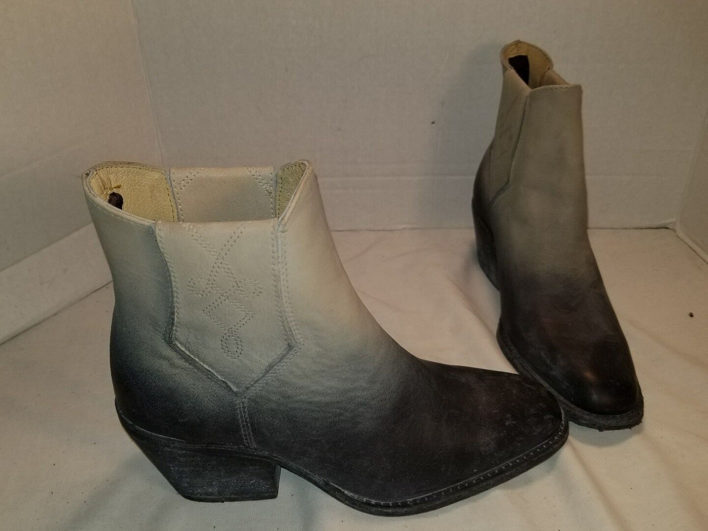 NEW FARYLROBIN WILLIAMS DISTRESSED BLACK LEATHER ANKLE BOOTS US 8