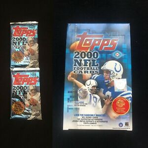 Lot-of-2-UNOPENED-2000-Topps-HOBBY-Football-Packs-Exclusive-Rookies