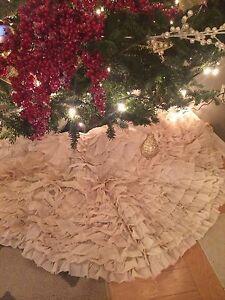 Vintage Shabby Rustic Chic Handmade Ruffled Christmas Tree