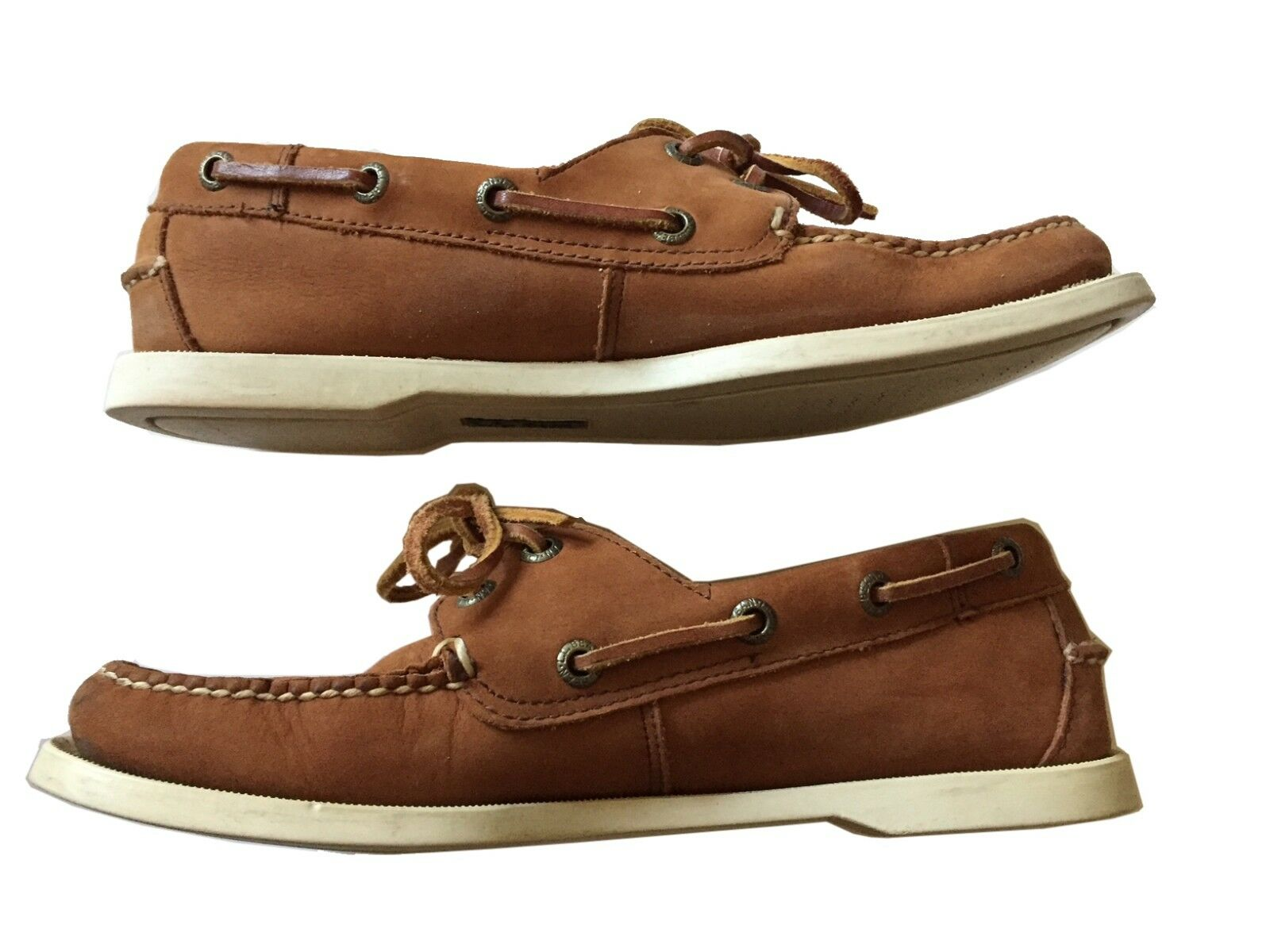 L.L. BEAN Women's Casco Bay Boat Moccasins Brown Nubuck Lace-Up Deck shoes Sz 7M