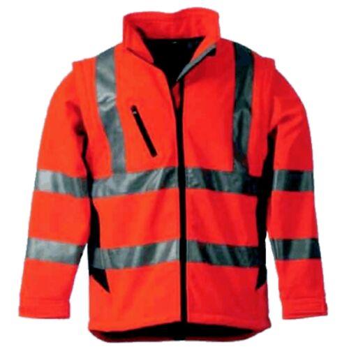2 in 1 Softshell Warnschutzjacke Warnjacke Jacke Weste Gelb Größe S-XXXL wählbar