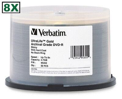 50-Pak VERBATIM =ULTRALIFE GOLD= 8X DVD-R's! Archival!  Verbatim 95355