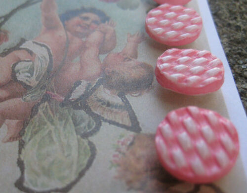 """Set of 4 ~ Vintage 1//2/""""Pink Gingham Painted Glass Buttons ~Pre WWII~ old stock"""
