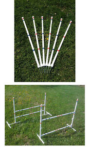 Dog Agility Equipment Budget Friendly 6 Weave Poles and 2 Jumps Free Shipping!