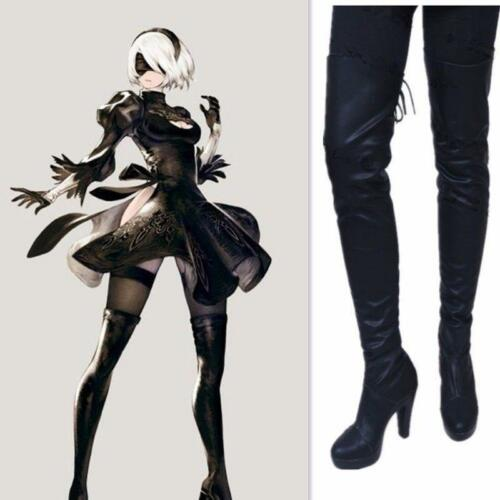 2 Over Knee Boots Cosplay Shoes High Heels Sz NieR:Automata 2B YoRHa Type A No