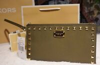 Michael Kors Saffiano Stud Zip Clutch Wristlet Purse Olive/gold Leather $128