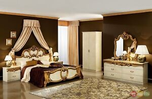 Details about Classic Style Barocco Ivory & Gold Italian Leather  Traditional Queen Bedroom Set