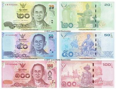 100 Baht 2012-2016 Set of 3 Banknotes 3 PCS King Rama UNC 50 Thailand 20
