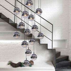 Image Is Loading LED Globe Chandelier Glass Stair Ceiling Light Lighting