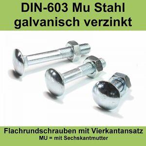 M6-DIN-603-Schlossschrauben-mit-Muttern-verzinkt-Flachrund-Schrauben-Flach-M6x
