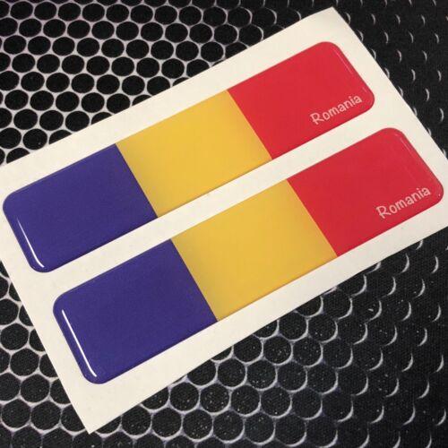 "Romania Flag Domed Decal Flexible Car Emblem 3D 4/""x1/"" Set of 2 Stickers"
