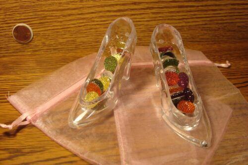2 Cinderella Princess Acrylic Fillable Slipper Wedding Cake Topper Quinceanera