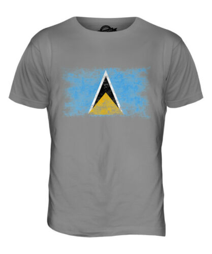 SAINT LUCIA DISTRESSED FLAG MENS T-SHIRT TOP ST LUCIA SHIRT JERSEY GIFT