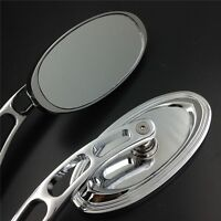 Oval Shape Aluminum Custom Chrome Mirrors For All Honda/kawasaki/suzuki/cruiser