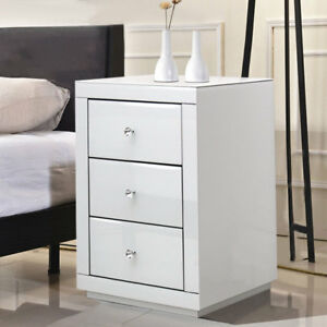 3 drawers mirrored glass bedside table cabinet nightstand bedside image is loading 3 drawers mirrored glass bedside table cabinet nightstand watchthetrailerfo