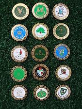 Juego de 15 Marcadores De Bola De Golf De Metal Coleccionable X-Gran Bretaña famosos campos de golf