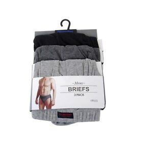 clasico-hombre-negro-Slips-Braguitas-Hipster-underwear-Paquete-de-3-large-Talla