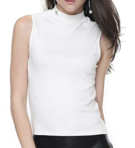 NEW LOOK cream ribbed sleeveless turtle roll neck top UK 14//16  work business