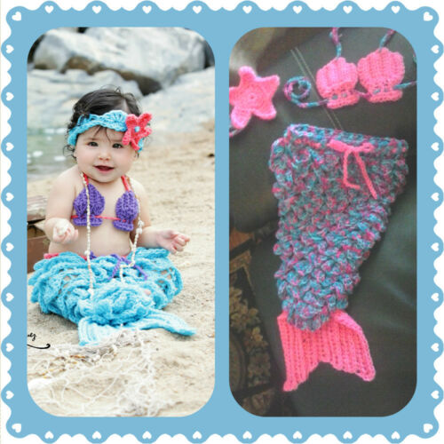 Baby Mermaid Outfit shower gift E crochet halloween costume prop set photo