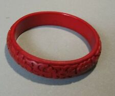 "1950's Carved Cinnabar Bangle Bracelet Flowers 3"" Diameter Vintage Red Jewelry"
