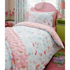 Magical Unicorn Fairy Junior Duvet Cover Set Pink Toddler Bed Bedding Free P