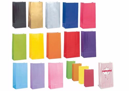 10 12 Paper Party Loot Bags Gift Sweet Treat Candy Party Bag popcorn stripes
