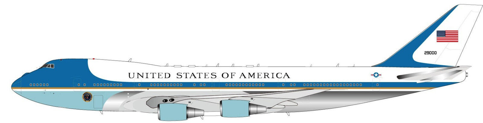 Ifaf1vc25apb 1 200 Air Force One B747-200 Ca-25a 29000 - Exclusif Support Sortie