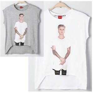 %50% s.Oliver Junior Girl Shirt mit Justin Bieber Print weiß oder grau Tour 2016