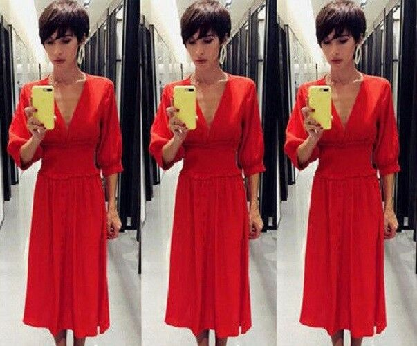 ZARA AW18 rot DRESS WITH ELASTIC WAIST Größe L Ref. 3564 151