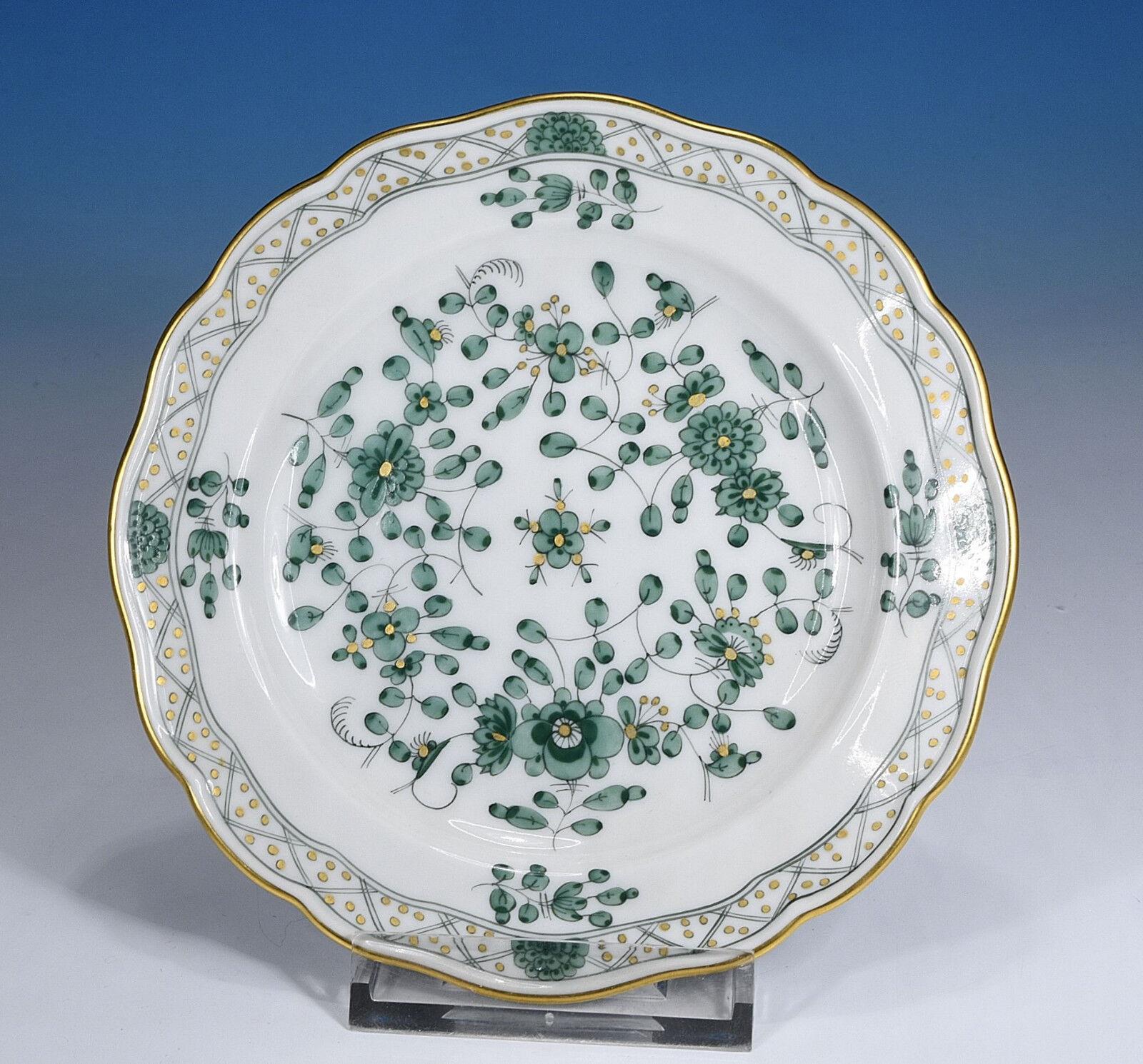 Meissen   Indien green Riche Peinture   Assiette pour Pain 13,5 Cm. 1.wahl