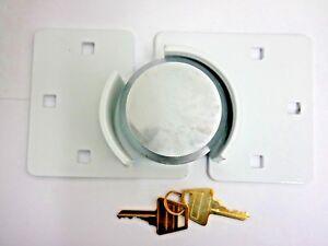 LARGE-HEAVY-DUTY-WHITE-73mm-SHACKLELESS-PADLOCK-amp-HASP-SET-VAN-TRUCK-DOOR-LOCK