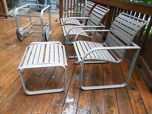 Mid Century Brown Jordan Outdoor Patio Set 3 Pieces Chair Side