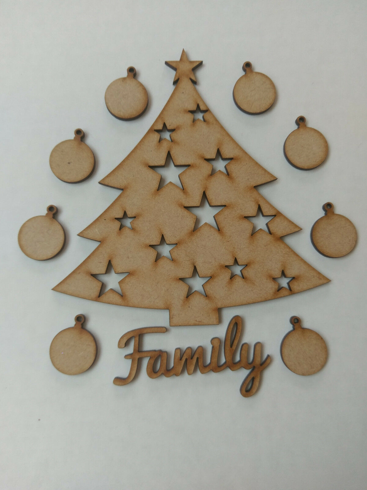 Christmas Family Tree Kit Set Laser Wooden Craft Blank Baulbes Personalisable