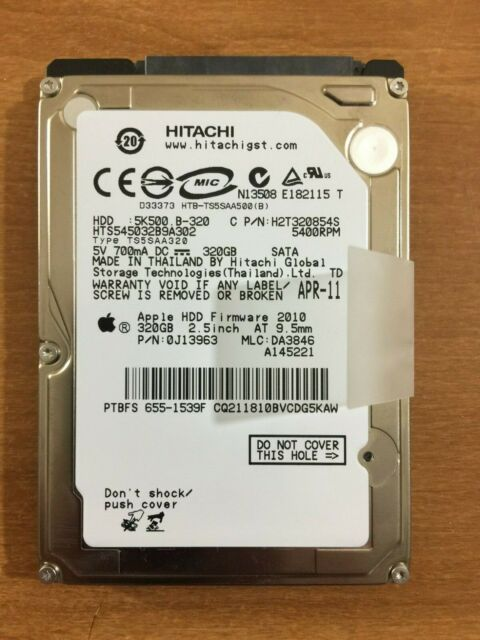 0J13963  MLC DA3846 APPLE HITACHI HTS545032B9A302 320GB SATA HARD DRIVE P//N