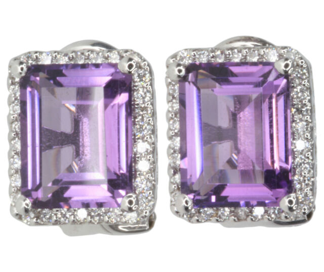 Amethyst and Diamond Gemstone Stud 18ct White Gold Earrings